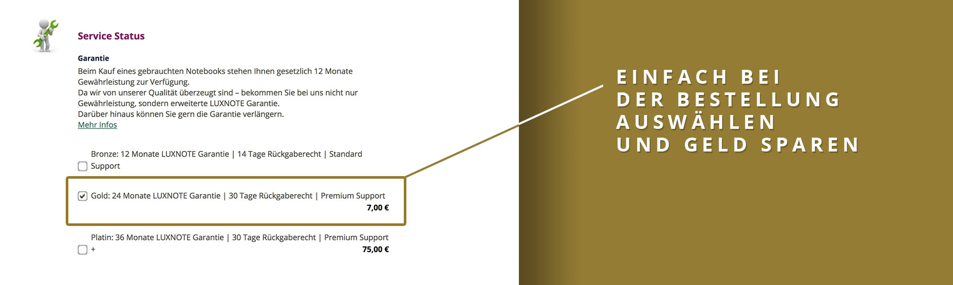 Luxnote gold Service